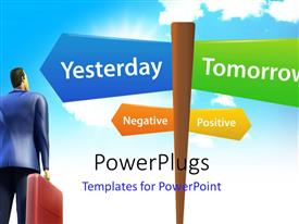 PowerPlugs: PowerPoint template with a number of signs with a person looking towards them