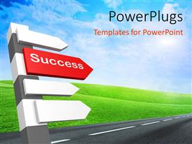 PowerPlugs: PowerPoint template with a number of signs with a road and greenish background