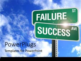 PowerPlugs: PowerPoint template with a number of signs with sky in the background