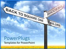 PowerPlugs: PowerPoint template with a number of signs together with clouds in the background