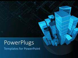 PowerPlugs: PowerPoint template with a number of sky scrapers with dark background