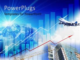 PowerPlugs: PowerPoint template with a number of skyscrapers with airplane i the background and place for text