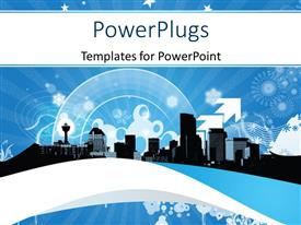 PowerPlugs: PowerPoint template with a number of skyscrapers in background with a number of signs