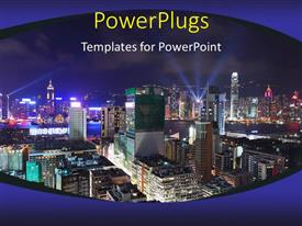 PowerPlugs: PowerPoint template with a number of skyscrapers with clear sky in the background