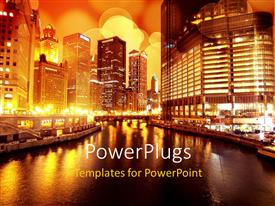 PowerPlugs: PowerPoint template with a number of skyscrapers at night with a river
