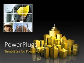 PowerPlugs: PowerPoint template with a number of skyscrapers with place for text