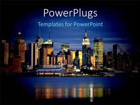 PowerPlugs: PowerPoint template with a number of skyscrapers and the sea