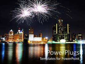 PowerPlugs: PowerPoint template with a number of skyscrapers with a sea in front