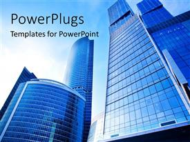 PowerPlugs: PowerPoint template with a number of skyscrapers with sky in the background