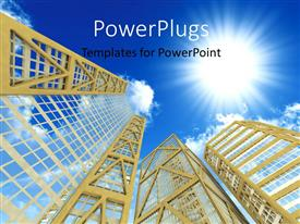 PowerPlugs: PowerPoint template with a number of skyscrapers with sun in the background