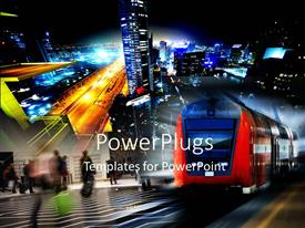 PowerPlugs: PowerPoint template with a number of skyscrapers and traffic with place for text