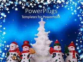 PowerPlugs: PowerPoint template with a number of snowmen with Christmas tree