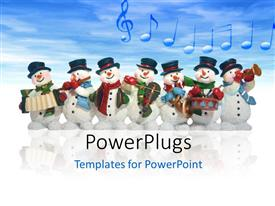 PowerPlugs: PowerPoint template with a number of snowmen with clouds in background