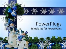 PowerPlugs: PowerPoint template with a number of snowmen with greenery in the background
