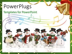 PowerPlugs: PowerPoint template with a number of snowmen with music instruments