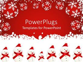 PowerPlugs: PowerPoint template with a number of snowmen with red background