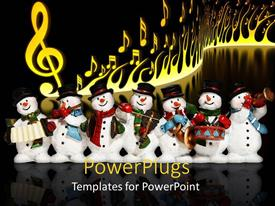 PowerPlugs: PowerPoint template with a number of snowmen together playing music