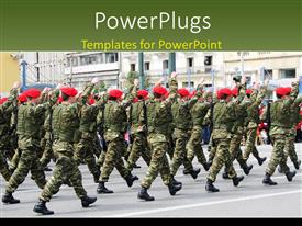 PowerPoint template displaying a number of soldiers marching towards a building
