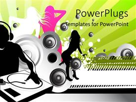 PowerPlugs: PowerPoint template with a number of speakers with a DJ
