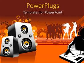 PowerPlugs: PowerPoint template with a number of speakers with a lot of dancers in background