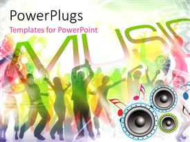 PowerPlugs: PowerPoint template with a number of speakers with peple dancing in the background