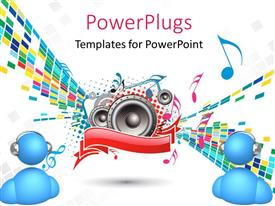 PowerPoint template displaying a number of speakers with various music signs