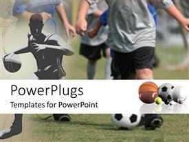 PowerPlugs: PowerPoint template with a number of sports balls with people playing football in the background