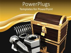 PowerPlugs: PowerPoint template with a number of spring bolts with golden background