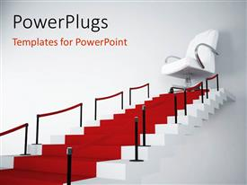 PowerPlugs: PowerPoint template with a number of stairs with a chair in the end