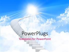 PowerPlugs: PowerPoint template with a number of stairs with clouds in the background