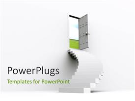 PowerPlugs: PowerPoint template with a number of stairs and an open door with white background