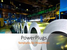 PowerPoint template displaying a number of steel sheet rolls in the making