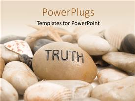 PowerPlugs: PowerPoint template with a number of stones and shells with pinkish background
