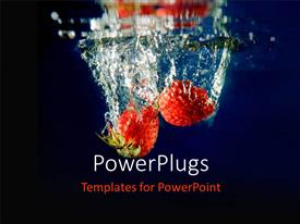 PowerPlugs: PowerPoint template with a number of strawberries inside water