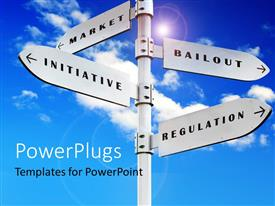 PowerPlugs: PowerPoint template with a number of street signs with sky in the background