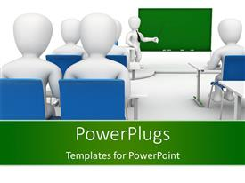 PowerPlugs: PowerPoint template with a number of students in the classroom during a lecture