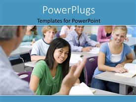 PowerPlugs: PowerPoint template with a number of students in the classroom with place for text