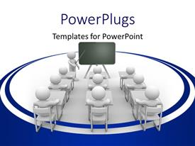 PowerPlugs: PowerPoint template with a number of students in the classroom with white background