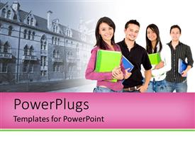 PowerPlugs: PowerPoint template with a number of students with a house in the background