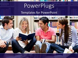 PowerPlugs: PowerPoint template with a number of students in the library