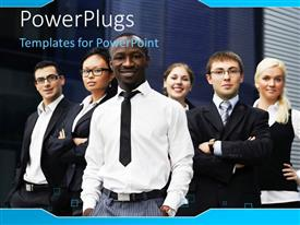PowerPoint template displaying a number of students with servers in the background