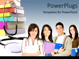 PowerPoint template displaying a number of students with stethoscopes