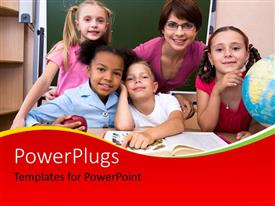 PowerPlugs: PowerPoint template with a number of students with the teacher and green board in the background