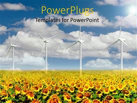 PowerPlugs: PowerPoint template with a number of sunflowers with windmills