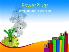 PowerPoint template displaying a number of tables and gears with bluish background