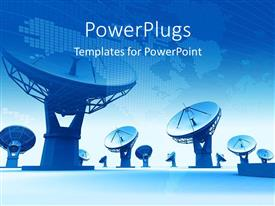 PowerPlugs: PowerPoint template with a number of telescopes with a bluish background