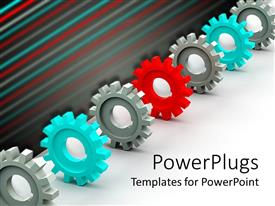 PowerPoint template displaying a number of three dimensional gears of various colors