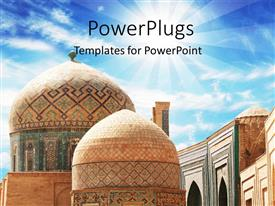 PowerPlugs: PowerPoint template with a number of tombs with sunshine in the background