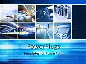 PowerPlugs: PowerPoint template with a number of travelling ways with bluish background