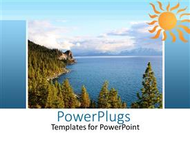 PowerPlugs: PowerPoint template with a number of trees on the beach with clouds in the background